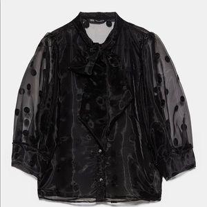 Zara Tops - ZARA NEW FW19 POLKA DOT SHIRT WITH BOW BLACK
